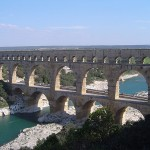 The Pont du Gard aqueduct was built by the Romans in approximately 19 BC.  It still stands today.