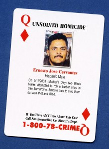 Ernest Jose Cervantes was shot to death during the robbery of his wife's beauty shop in 2003.  The beauty shop was closed for Mothers' Day but he and his wife were just returning from selling flowers and balloons on the street for the occasion.  The two had finished for the day and were returningthe merchandise to the shop when three men entered the store.